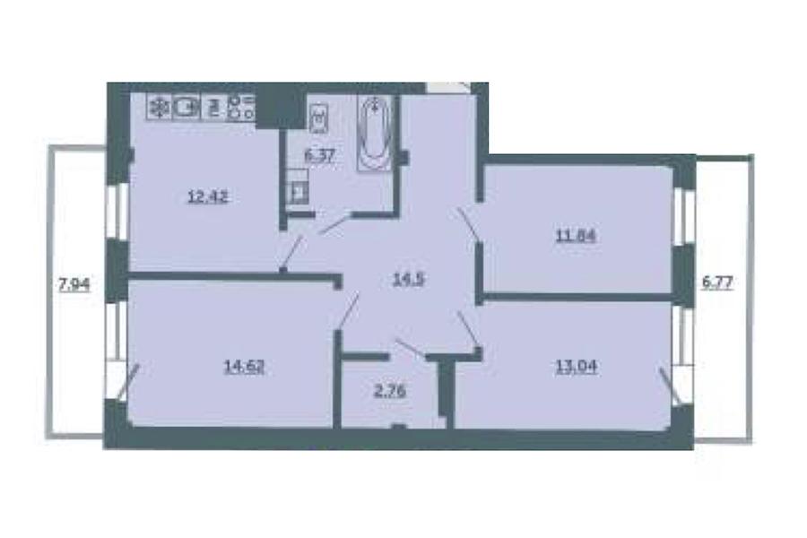 3-комнатная 80 м<sup>2</sup> на 3 этаже