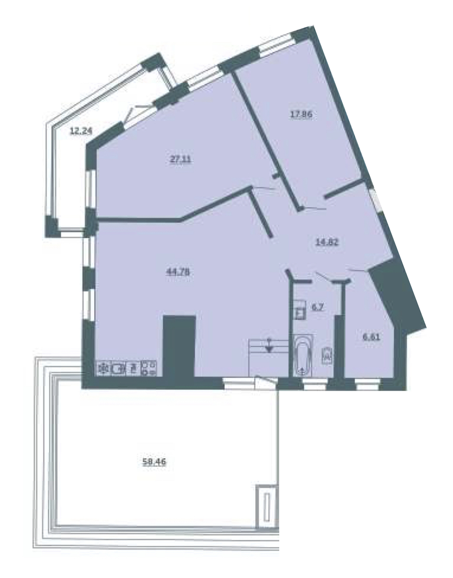 2-комнатная 121 м<sup>2</sup> на 4 этаже