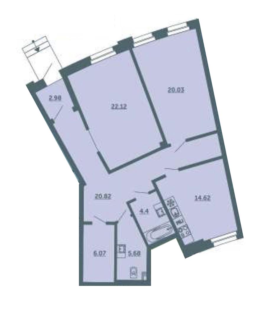 2-комнатная 96 м<sup>2</sup> на 1 этаже