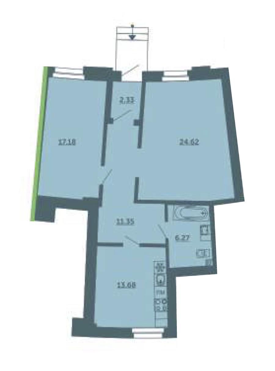 2-комнатная 75 м<sup>2</sup> на 1 этаже