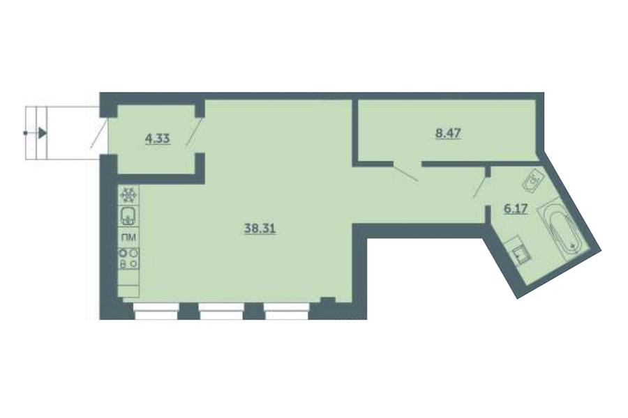 Студия 57 м<sup>2</sup> на 1 этаже