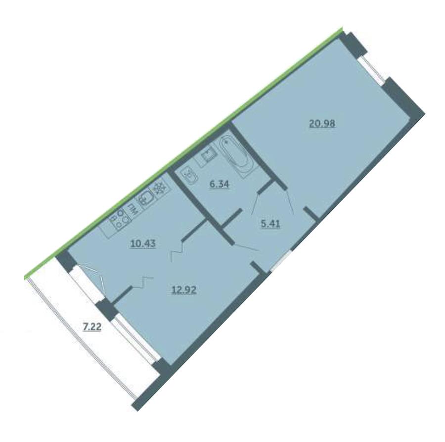 2-комнатная 58 м<sup>2</sup> на 2 этаже