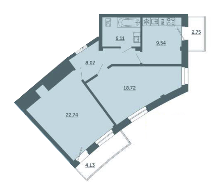 2-комнатная 67 м<sup>2</sup> на 3 этаже