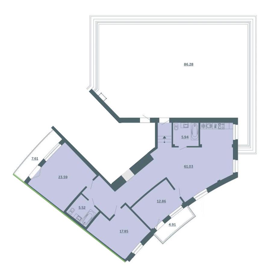 3-комнатная 130 м<sup>2</sup> на 4 этаже