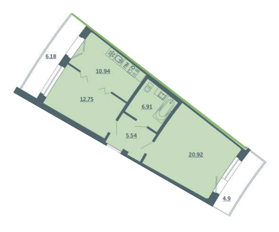 1-комнатная 60 м<sup>2</sup> на 2 этаже