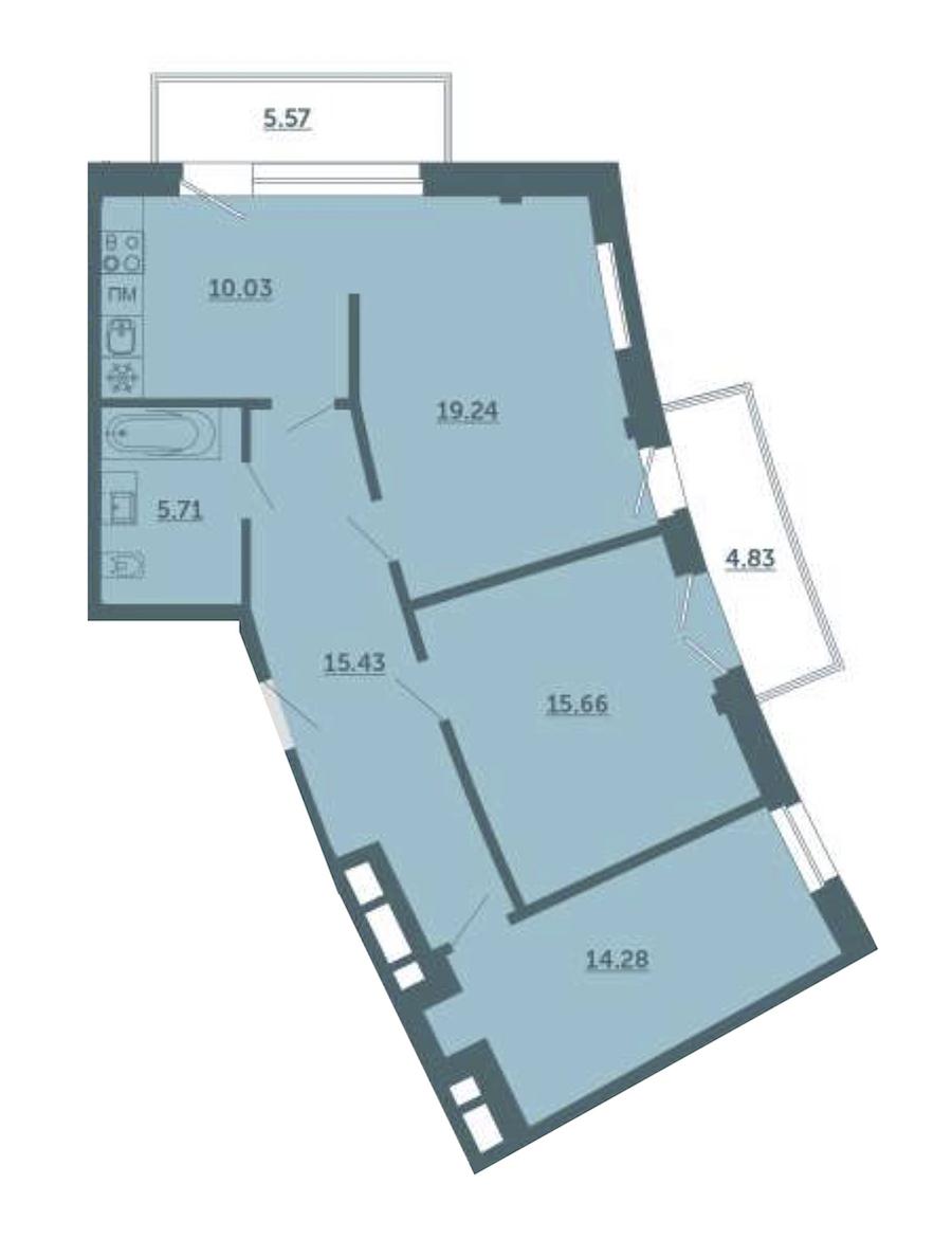 3-комнатная 83 м<sup>2</sup> на 2 этаже