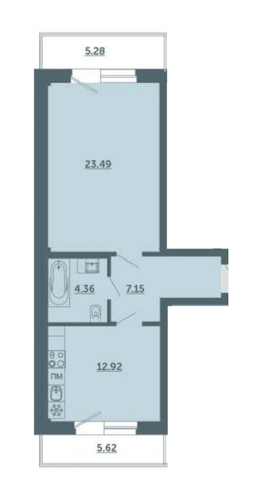 1-комнатная 51 м<sup>2</sup> на 2 этаже
