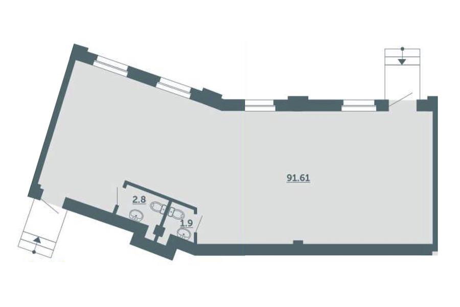1-комнатная 96 м<sup>2</sup> на 1 этаже