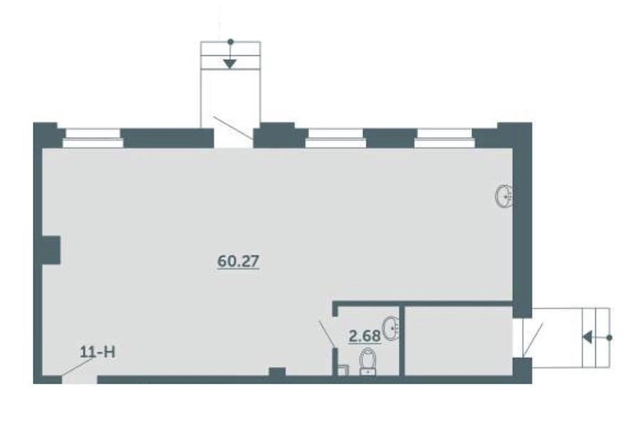 1-комнатная 63 м<sup>2</sup> на 1 этаже