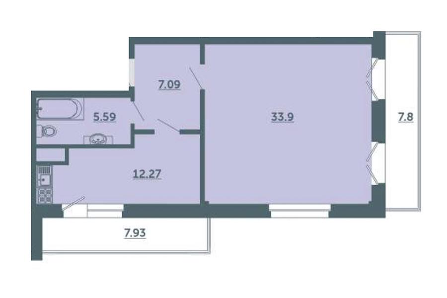 1-комнатная 63 м<sup>2</sup> на 3 этаже