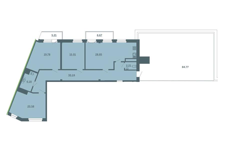 3-комнатная 126 м<sup>2</sup> на 4 этаже