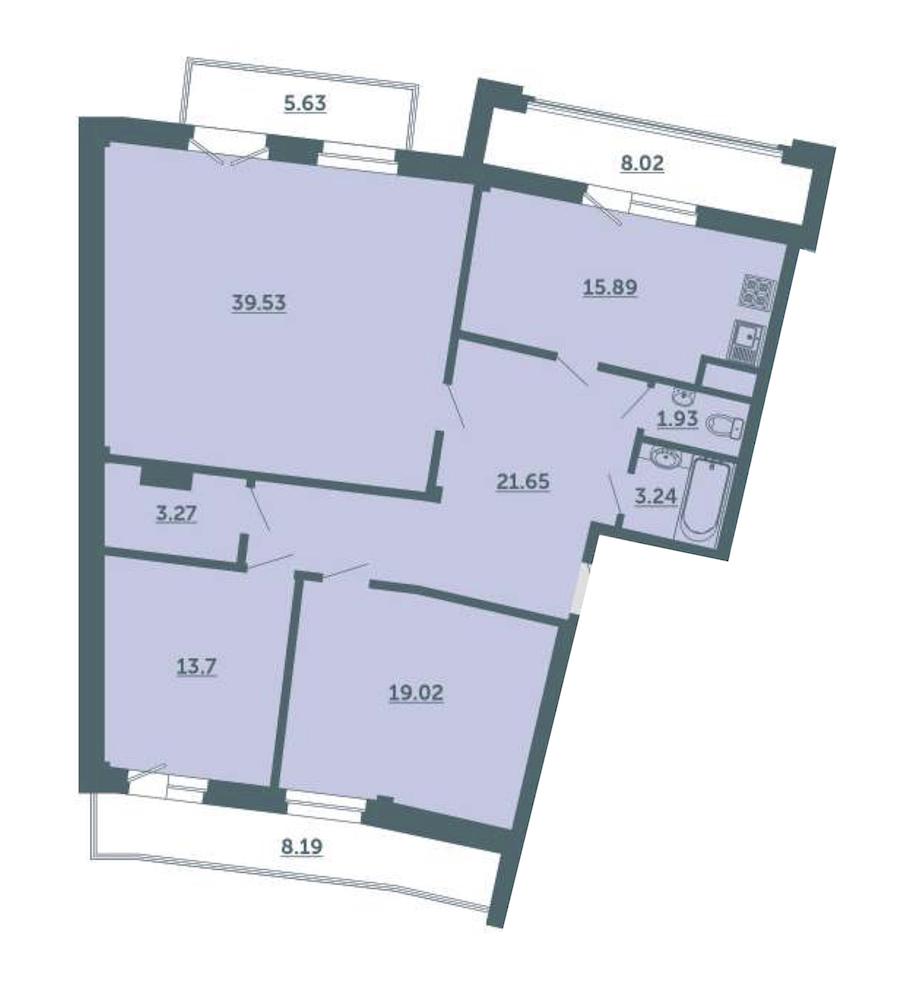 3-комнатная 124 м<sup>2</sup> на 3 этаже