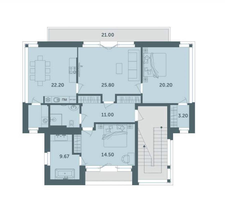 1-комнатная 119 м<sup>2</sup> на 2 этаже