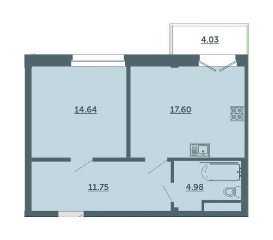 1-комнатная 50 м<sup>2</sup> на 3 этаже