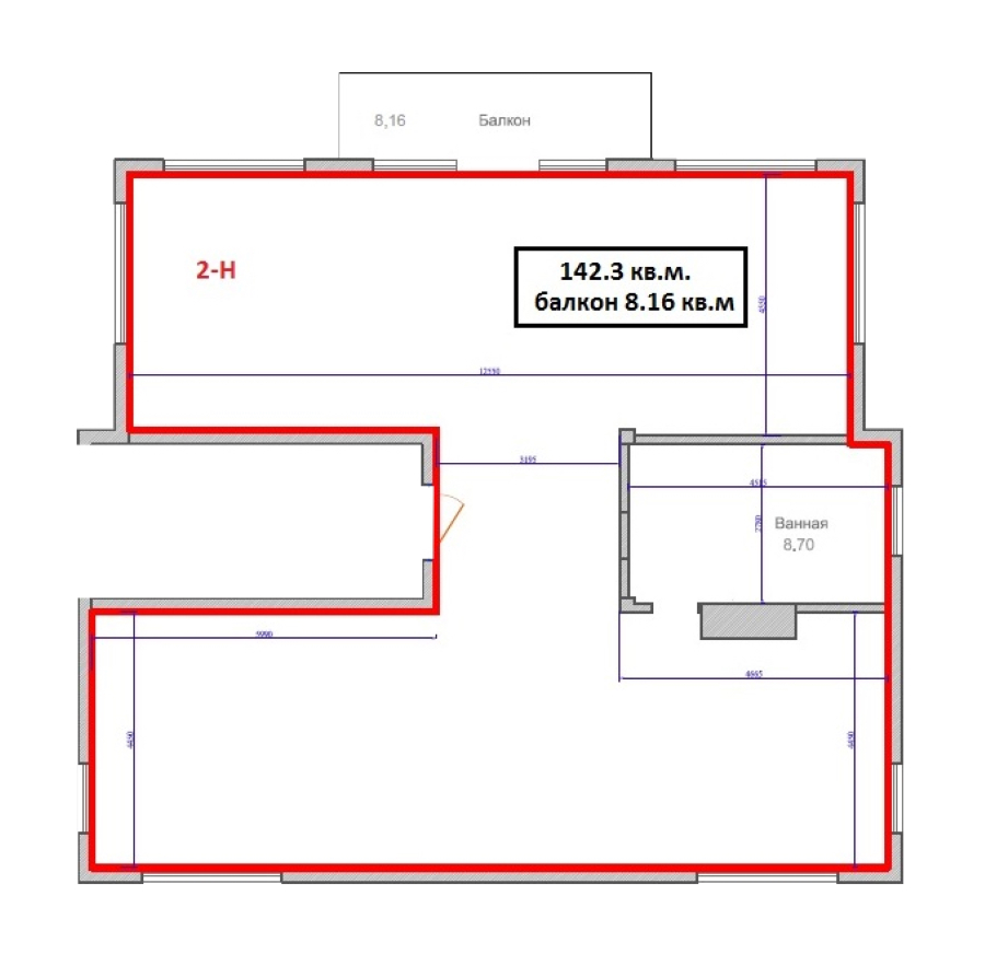 1-комнатная 141 м<sup>2</sup> на 2 этаже