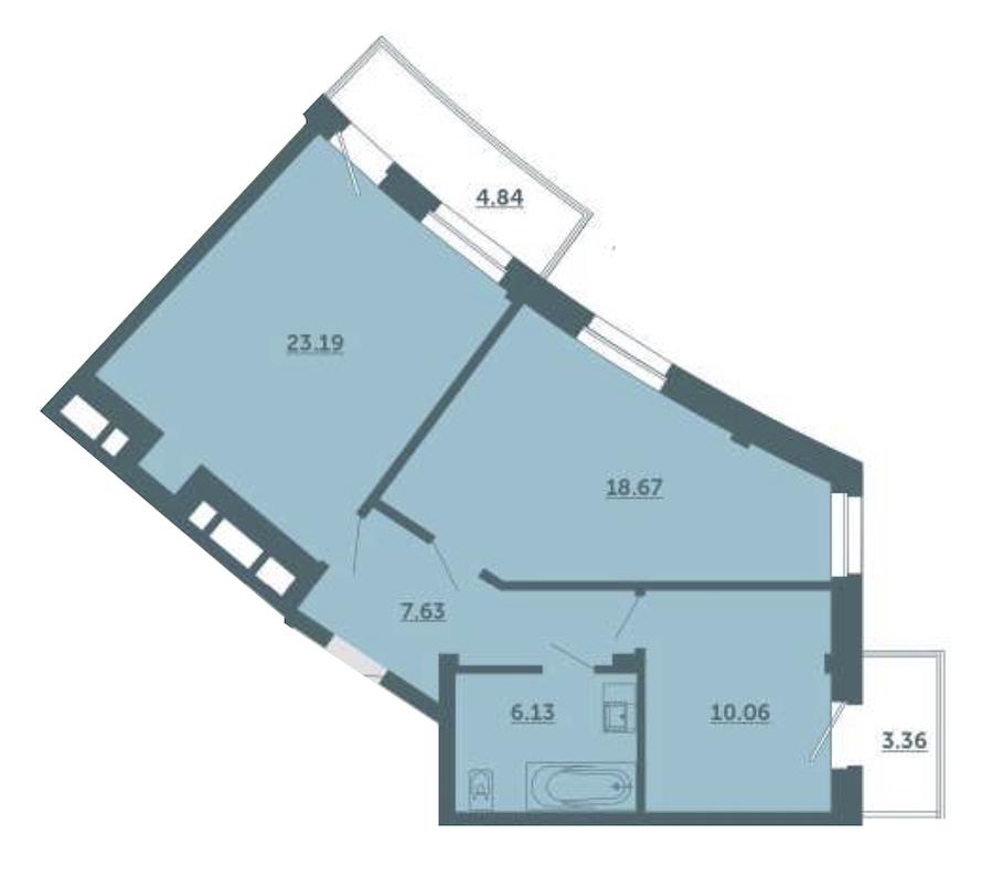 2-комнатная 68 м<sup>2</sup> на 2 этаже