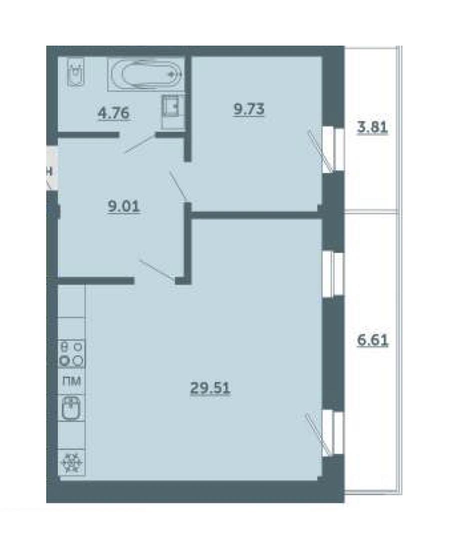 1-комнатная 56 м<sup>2</sup> на 3 этаже