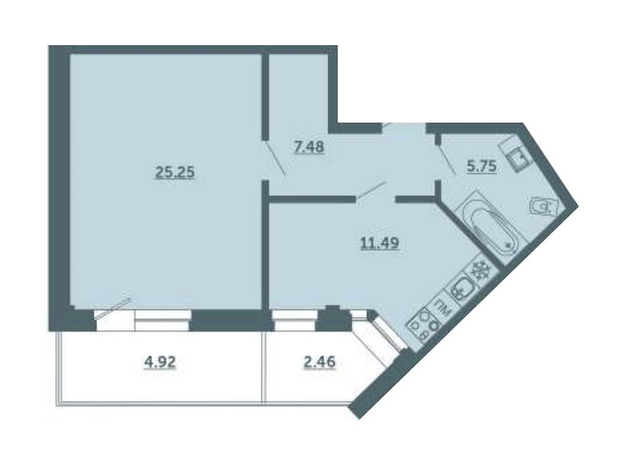 1-комнатная 52 м<sup>2</sup> на 3 этаже