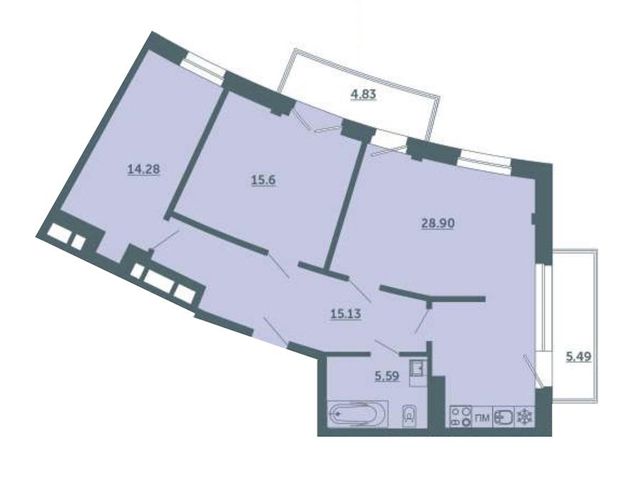 2-комнатная 82 м<sup>2</sup> на 2 этаже