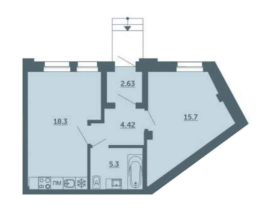 1-комнатная 46 м<sup>2</sup> на 1 этаже