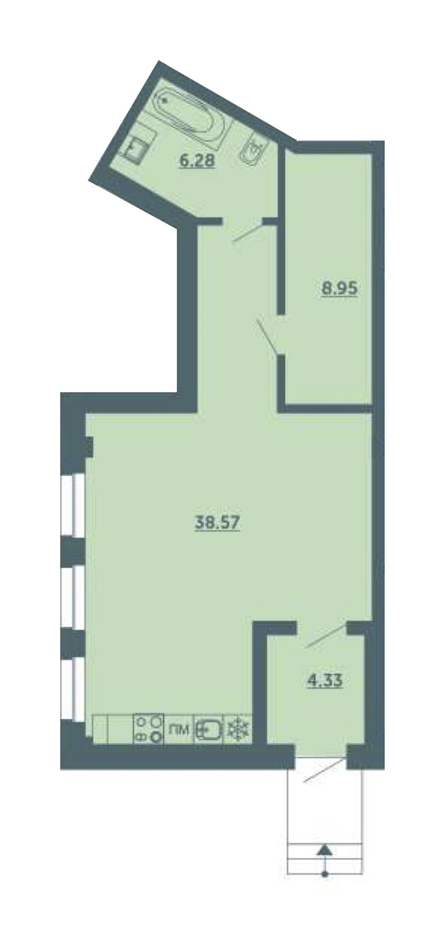 Студия 58 м<sup>2</sup> на 1 этаже