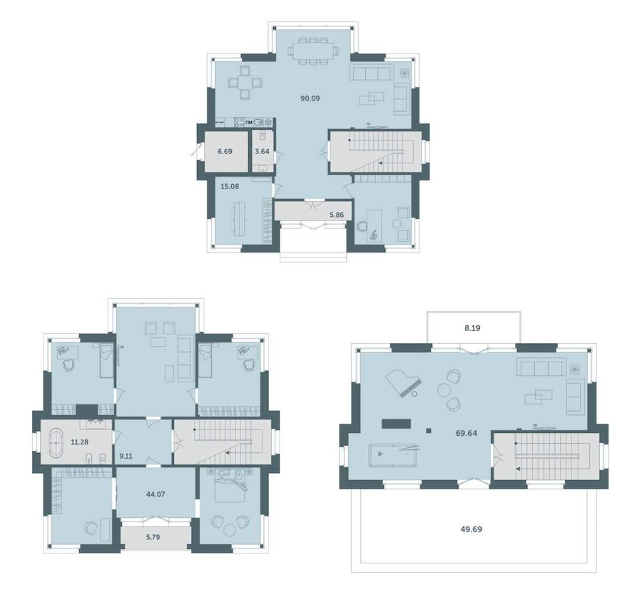 1-комнатная 332 м<sup>2</sup> на 1 этаже