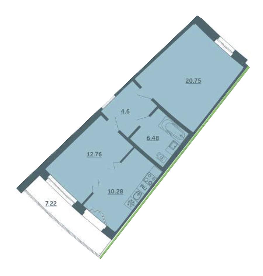 1-комнатная 57 м<sup>2</sup> на 2 этаже