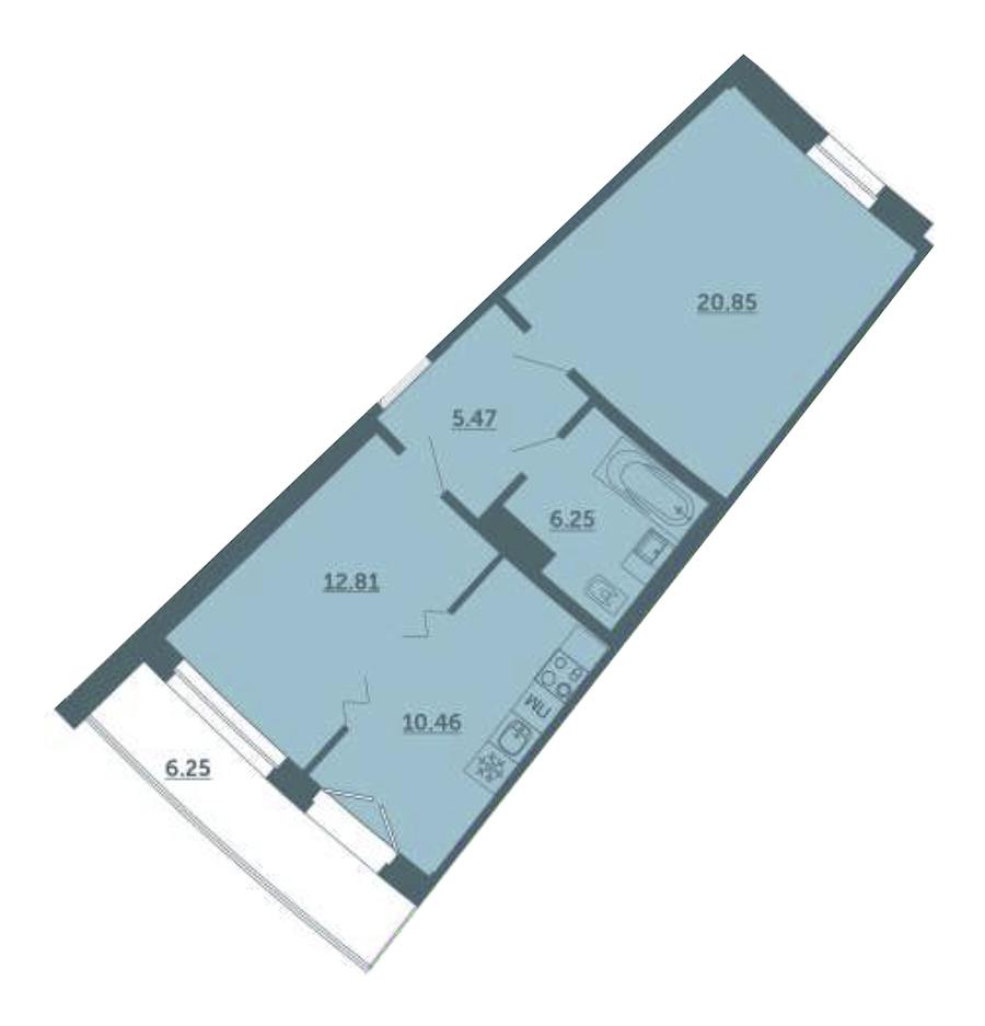 1-комнатная 57 м<sup>2</sup> на 3 этаже