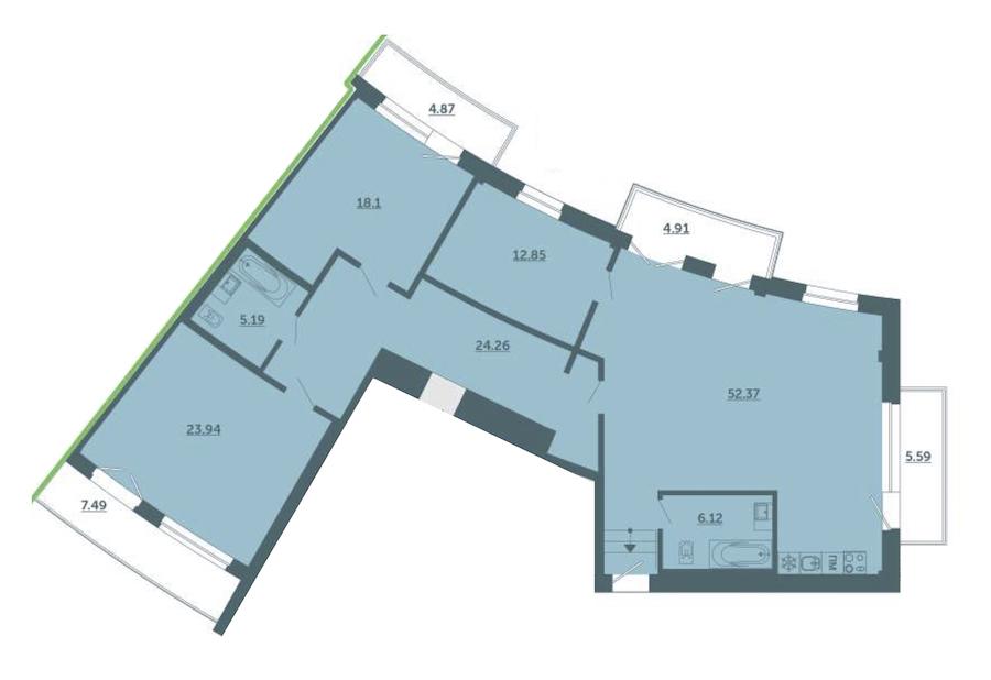 3-комнатная 149 м<sup>2</sup> на 4 этаже