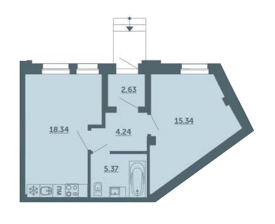 1-комнатная 45 м<sup>2</sup> на 1 этаже