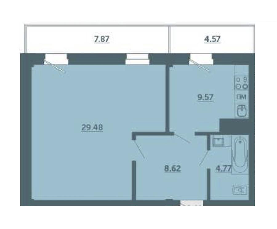 1-комнатная 52 м<sup>2</sup> на 2 этаже