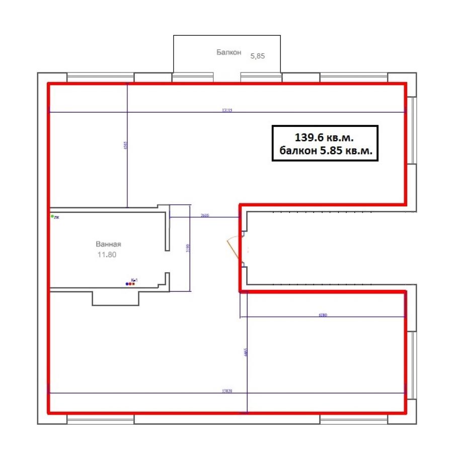 1-комнатная 138 м<sup>2</sup> на 2 этаже