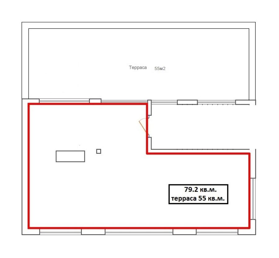 1-комнатная 77 м<sup>2</sup> на 3 этаже