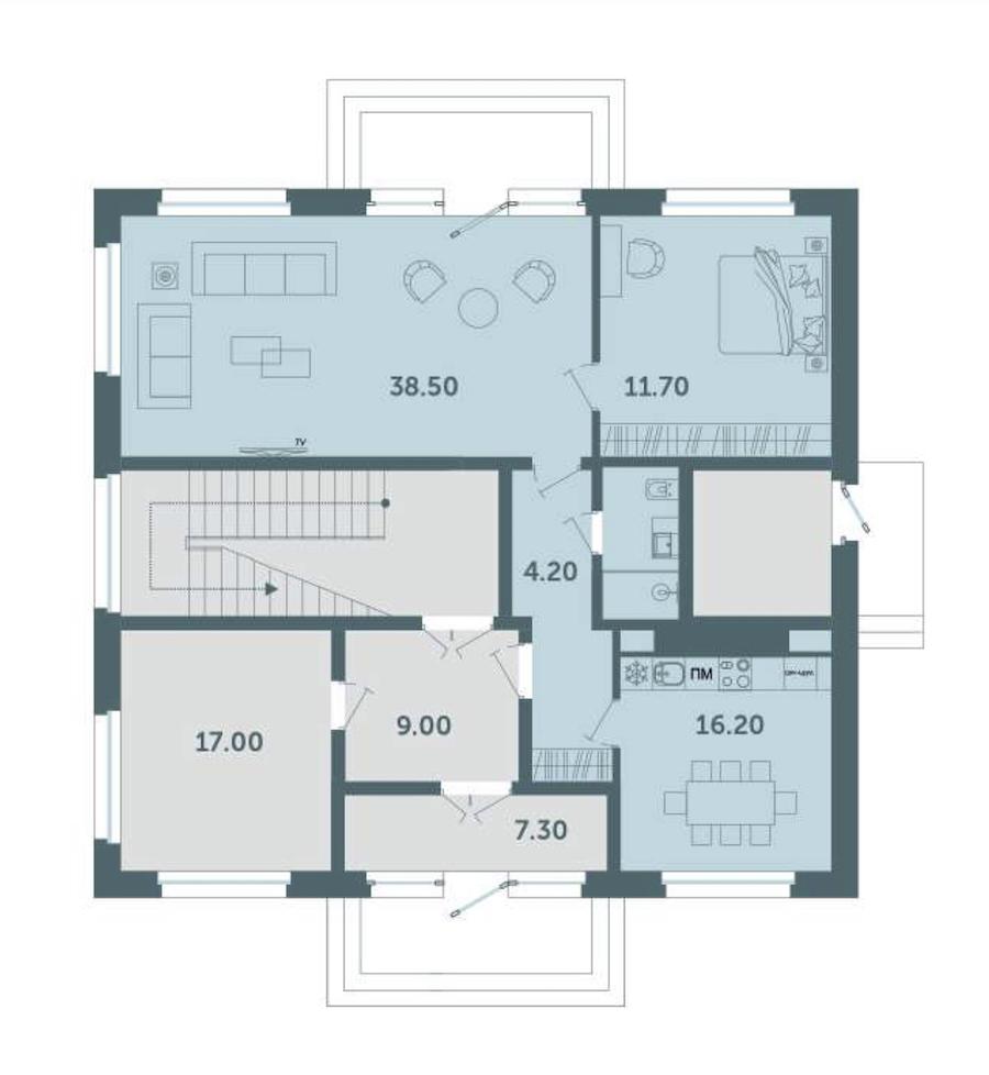 1-комнатная 87 м<sup>2</sup> на 1 этаже