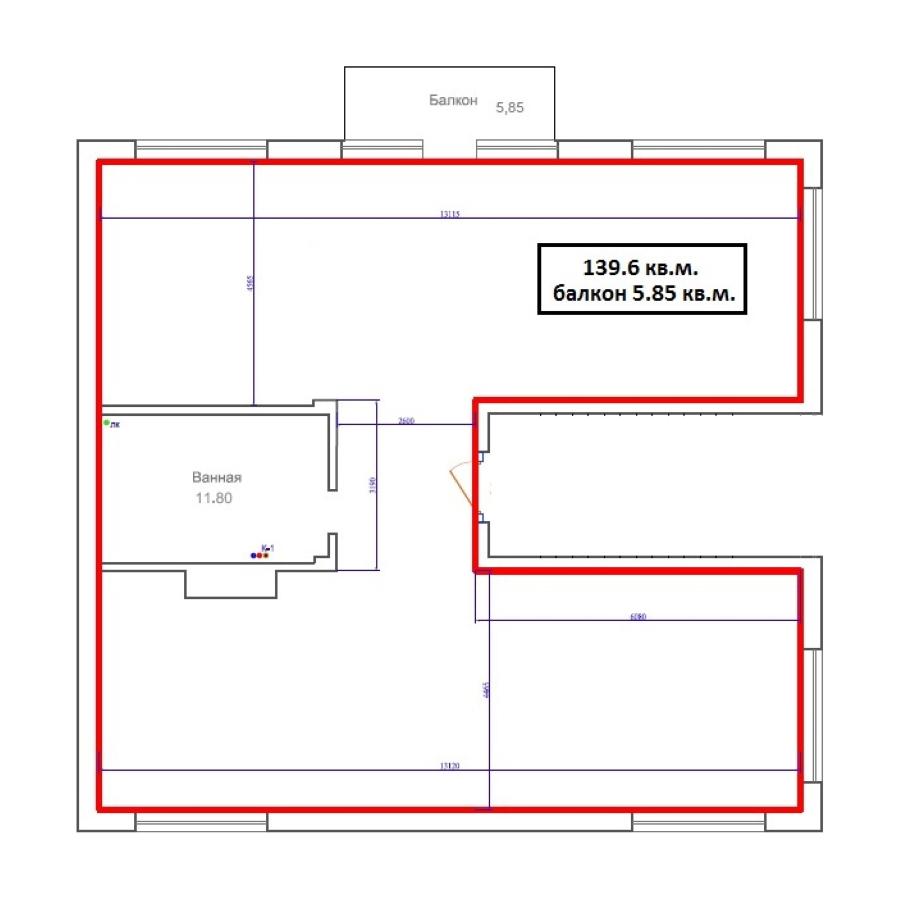 1-комнатная 137 м<sup>2</sup> на 2 этаже