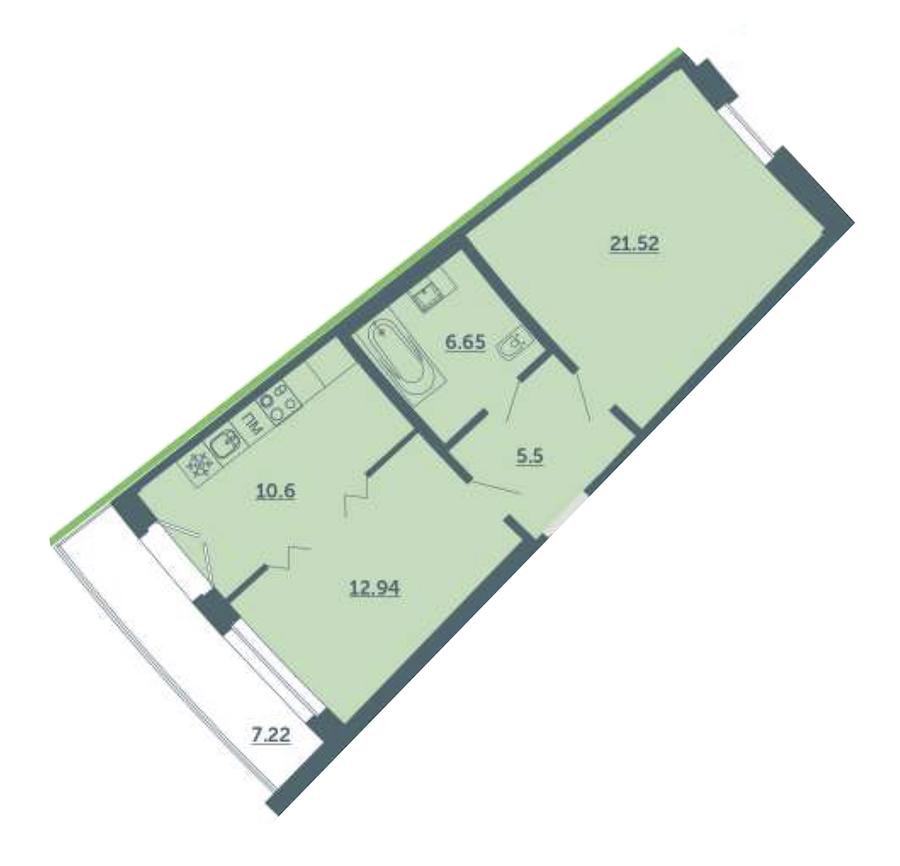 1-комнатная 59 м<sup>2</sup> на 2 этаже