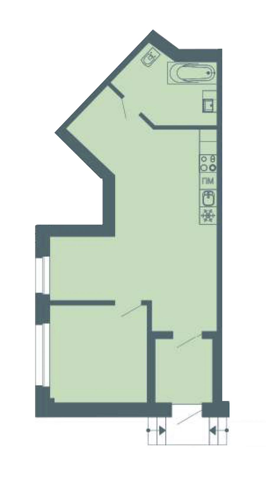 1-комнатная 54 м<sup>2</sup> на 1 этаже