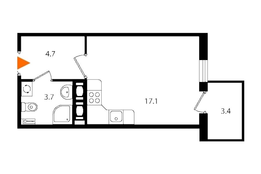 Студия 26 м<sup>2</sup> на 4 этаже