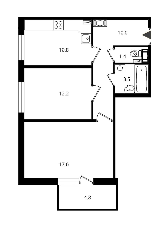 2-комнатная 57 м<sup>2</sup> на 2 этаже