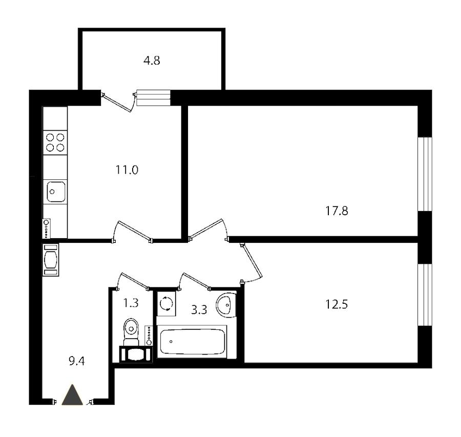 2-комнатная 56 м<sup>2</sup> на 6 этаже