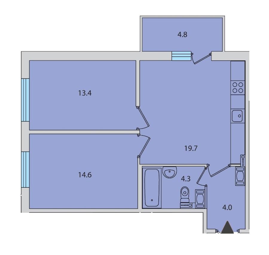 2-комнатная 57 м<sup>2</sup> на 14 этаже