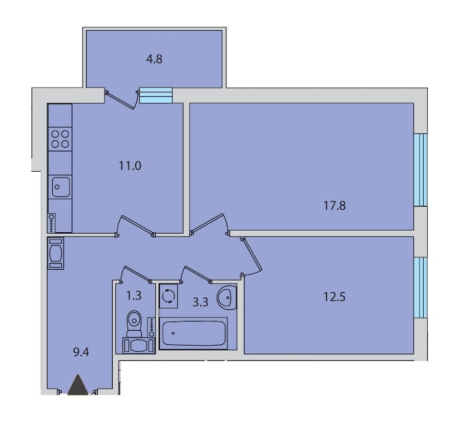 2-комнатная 56 м<sup>2</sup> на 13 этаже