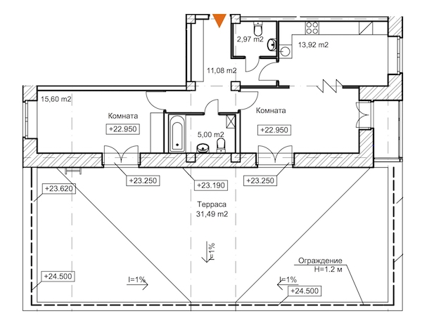 2-комнатная 92 м<sup>2</sup> на 8 этаже