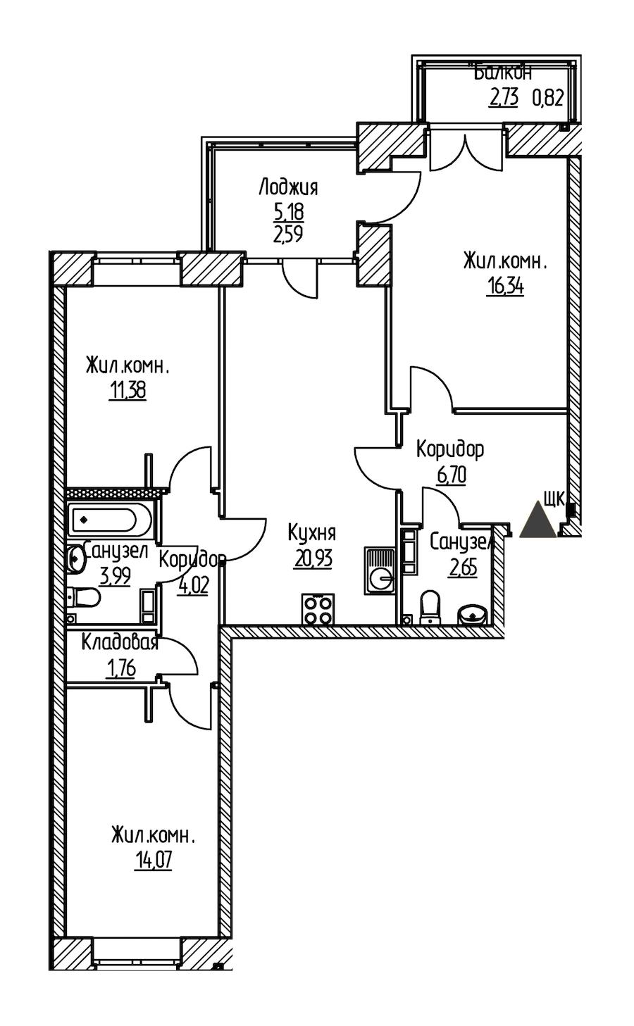3-комнатная 85 м<sup>2</sup> на 6 этаже