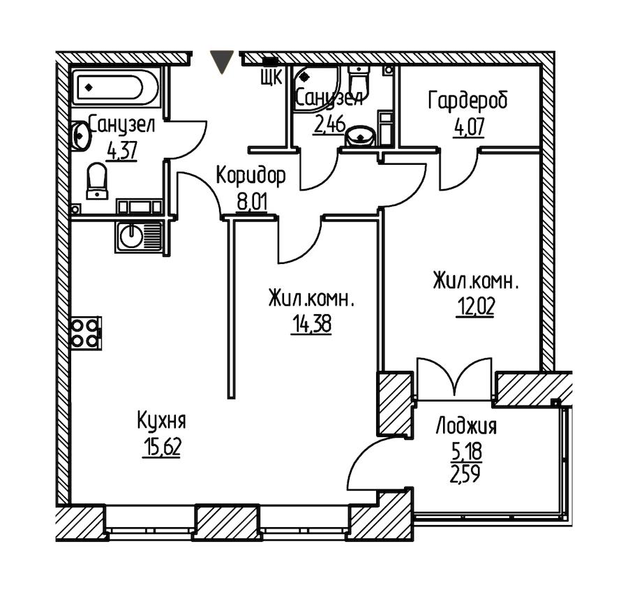 2-комнатная 63 м<sup>2</sup> на 7 этаже
