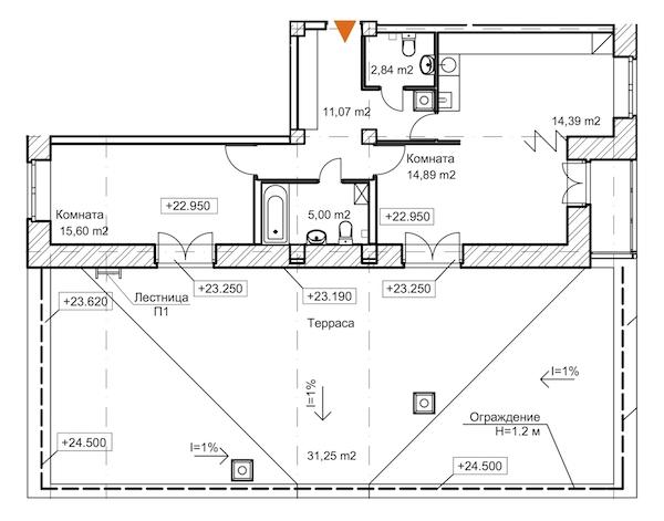 2-комнатная 90 м<sup>2</sup> на 8 этаже