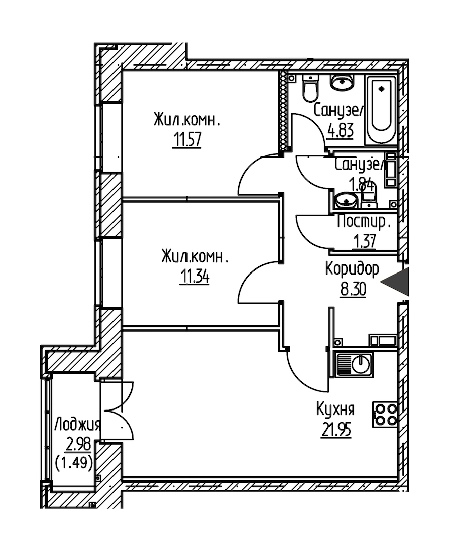 2-комнатная 62 м<sup>2</sup> на 9 этаже