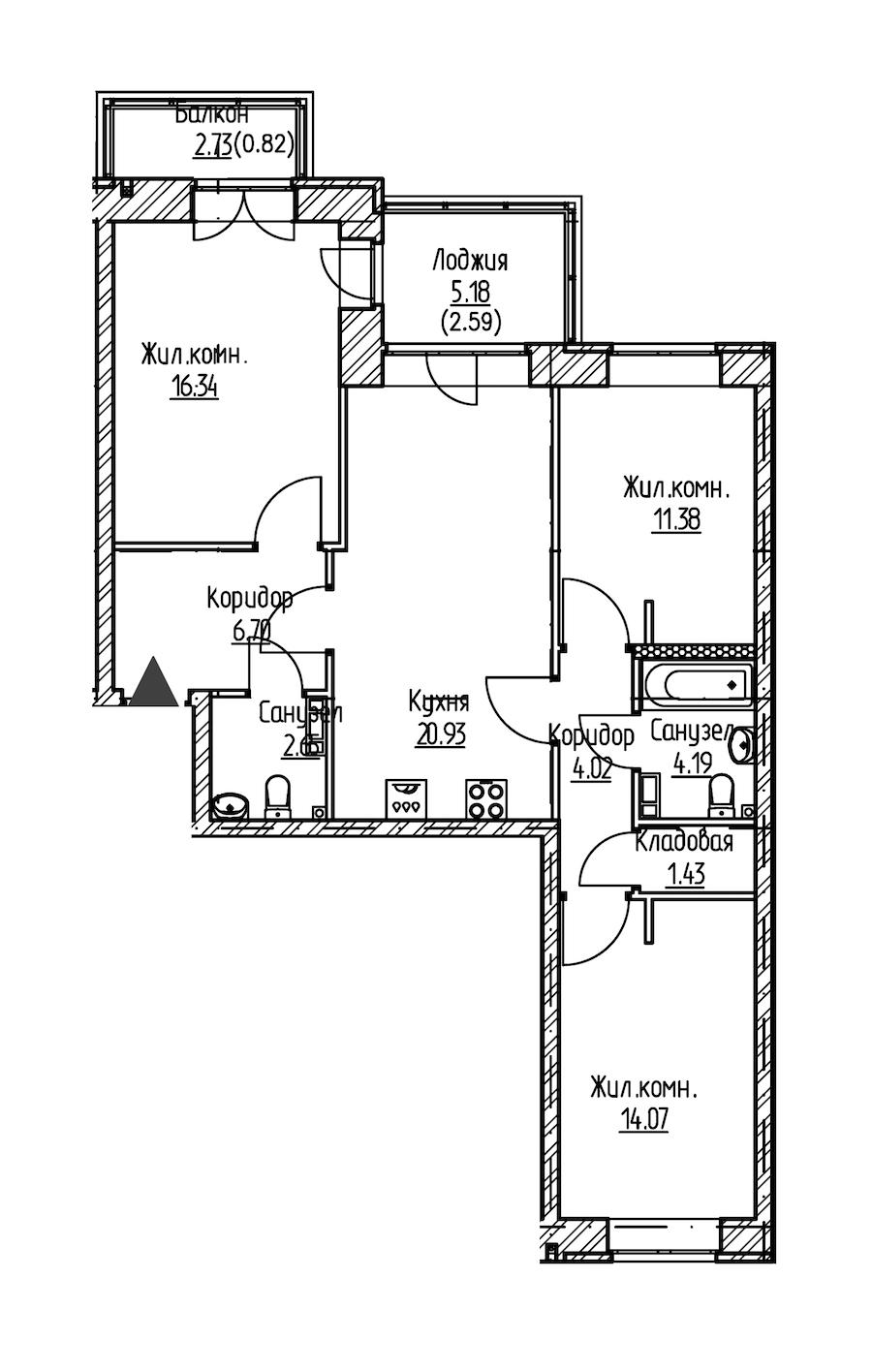 3-комнатная 85 м<sup>2</sup> на 9 этаже