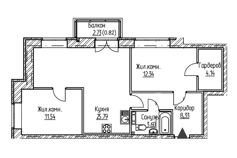 2-комнатная 66 м<sup>2</sup> на 9 этаже