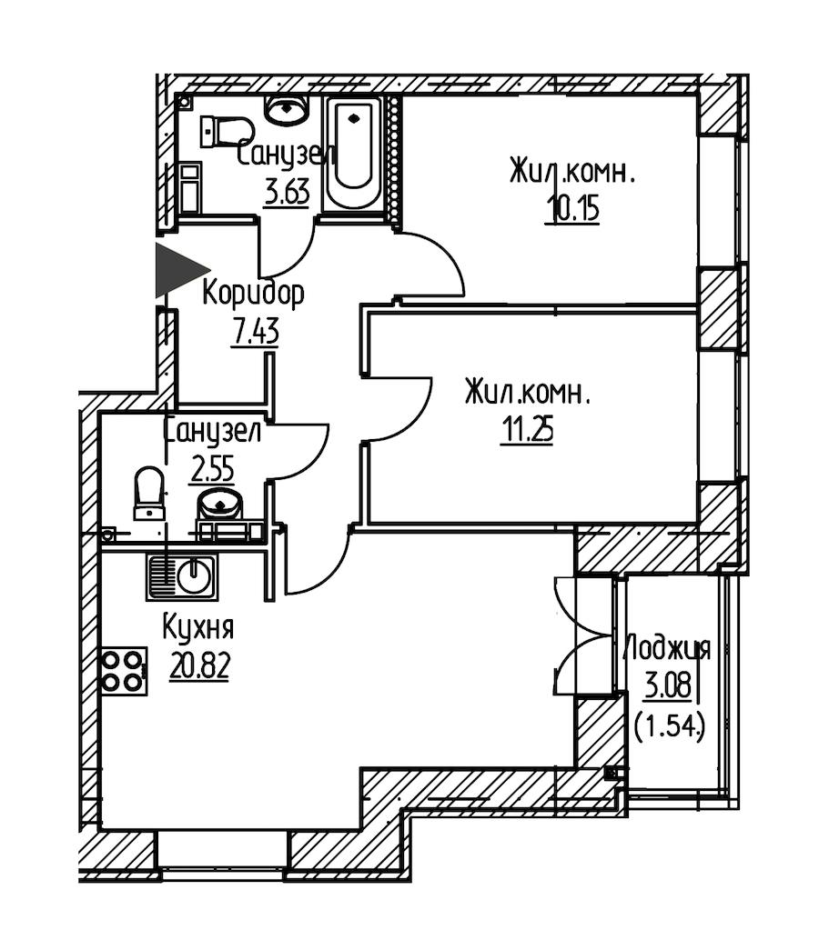 2-комнатная 57 м<sup>2</sup> на 9 этаже